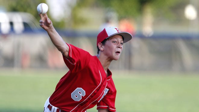 Steven Davis (6) of Holbrook delivers a pitch during District 18 Little Game against Toms River East American, at Toms River Little League Field, Toms River,NJ.  Tuesday, July 5, 2016. Noah K. Murray-Correspondent/Asbury Park Press ASB 0706 Little League gamer 2
