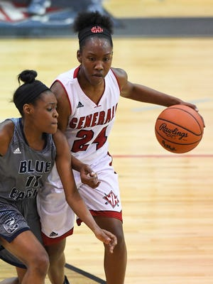 The Wade Hampton Generals and Bre Watts (24), pictured here against Clover, will play top-ranked Goose Creek for the Class AAAAA championship at 7 p.m. Friday at Colonial Life Arena in Columbia.
