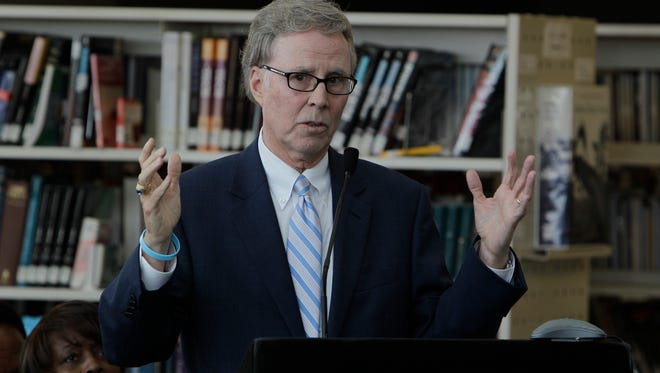 Mike Flanagan, State Superintendent of Public Instruction, speaks in Detroit, Monday, June 20, 2011.