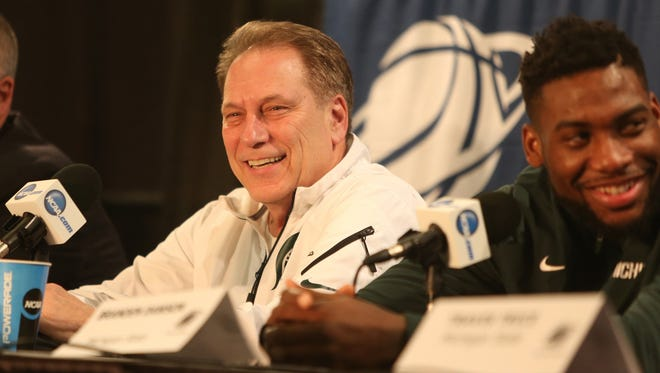 Michigan State coach Tom Izzo and Branden Dawson share a laugh while talking with reporters about their NCAA East Regional Final matchup against the Louisville Cardinals on Saturday, March 28, 2015 at Carrier Dome in Syracuse N.Y..