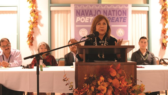 Laura Tohe speaks during a ceremony naming her the Navajo Nation's poet laureate at Navajo Technical University in New Mexico.