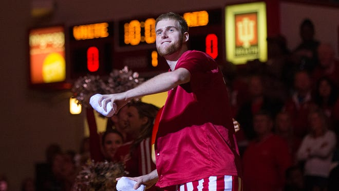 Indiana Hoosiers forward Tim Priller (35) throws t-shirts after being introduced during Hoosier Hysteria at Assembly Hall, Bloomington, Ind., Saturday, October 22, 2016.
