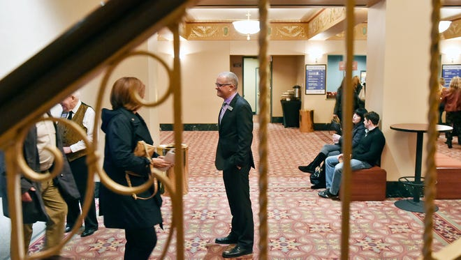 Strand Capitol Performing Arts Center Inc. CEO Todd Fogdall greets guests in the lobby before comedian Kathy Griffin's performance Thursday, April 6, 2017. Fogdall said that part of his role is to be the face of the organization, so he takes the time to greet guests in the lobby when they come out to events.