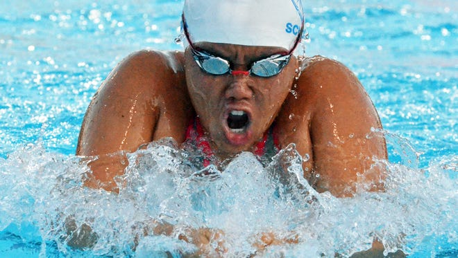 Community School of Naples' Karen Liu drives through the water during the breaststroke leg of the 200 IM at the FHSAA Class 1A swimming and diving state finals on Saturday, Nov. 4, 2017 at Sailfish Splashpark Aquatic Center on Saturday in Stuart.