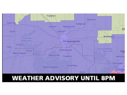 Weather advisory for central Indiana until 8pm.