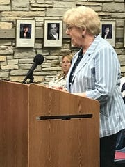 Maricolette Walsh, a trustee of the Wauwatosa Cemetery, spoke during the July 31 meeting of the Community Affairs Committee to discuss concerns about a proposed apartment building near the cemetery.