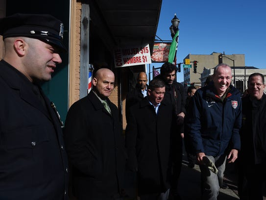 Phil Murphy has a laugh as he visits Union City on