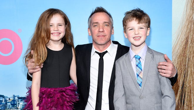 """Iain Armitage (right), shown with fellow 'Big Little Lies' star Darby Camp and director Jean-Marc Vallee, and actor Iain Armitage attend the premiere of HBO's """"Big Little Lies,"""" will star as a 9-year-old version of 'The Big Bang Theory's' Sheldon Cooper in a new CBS sitcom next season."""