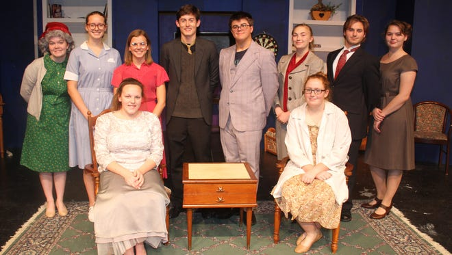 "The cast of ""The Curious Savage,"" to be presented this weekend at Clear Creek Amana High School. Seated (l-r): Makayla Tackaberry and Anna Luria. Standing (l-r): Brie Bevans, Laurel Preston, Nicole Wichhart, Cole Sherman, Connor Crozier, Macayle DeVore, Fisher Williams and Suzanna Zierke. Not pictured is Sophia Rocca."