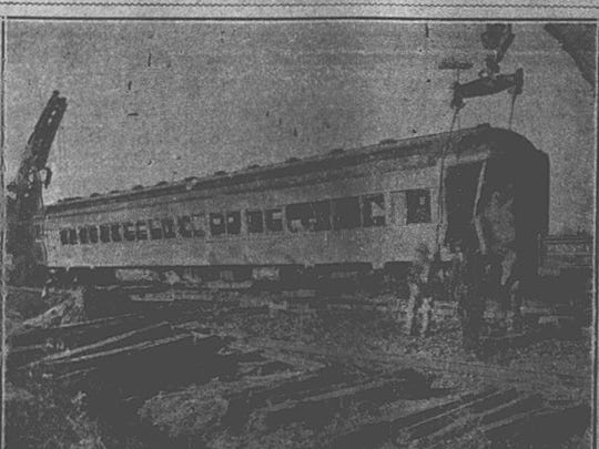 An archived image published in the Dec. 6, 1929 edition of the Eastern Shore News captures one of the rail cars that derailed during a fatal train wreck in Onley Sunday, Dec. 1, 1929.