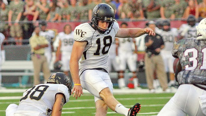 Southside High graduate Mike Weaver, kicking against Louisiana-Monroe on Aug. 28, has converted all seven of his field goal attempts this season.