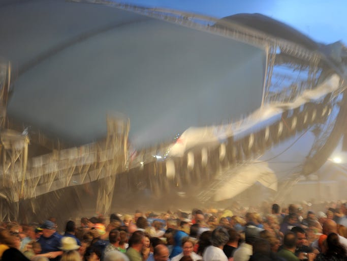 The moment of the stage collapse at the Indiana State Fairgrounds in 2011.