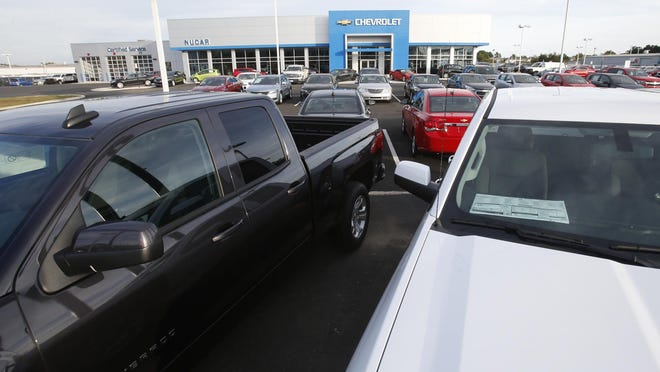 Cars and trucks are on display at NuCar Chevrolet near New Castle.