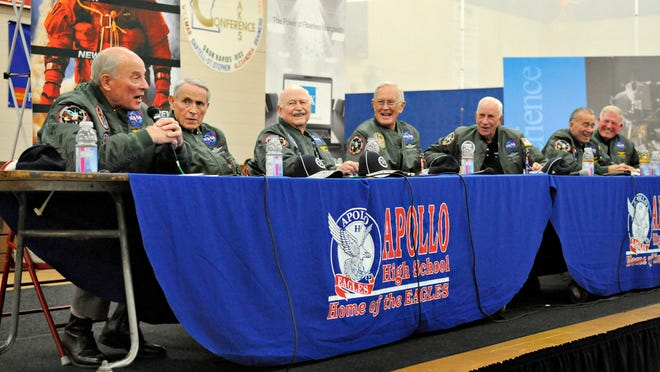 Seven NASA astronauts talked about their experiences at Apollo High School on Wednesday.