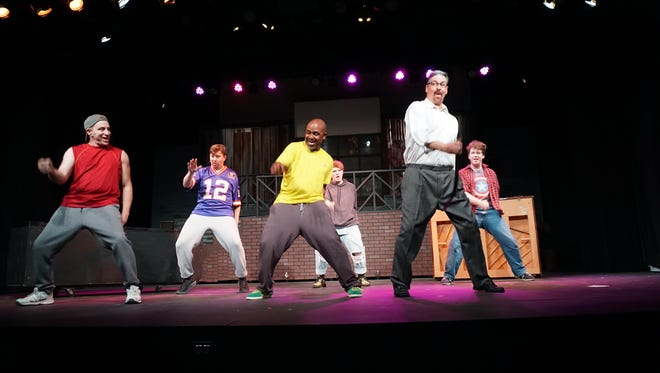 """Jason Lewis, left, Zach Williams, Elliott Robinson, Blake Holliday, David Arnold and Seth Brown perform in Circle Players/KB Productions' """"The Full Monty."""""""