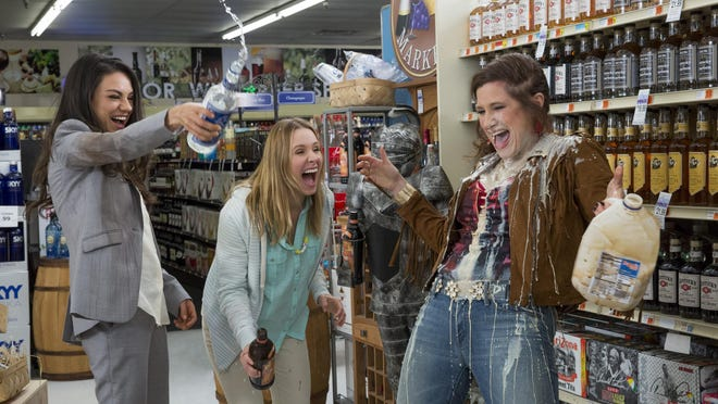 """This image released by STX Productions shows, from left, Mila Kunis, Kristen Bell and Kathryn Hahn in a scene from, """"Bad Moms."""""""