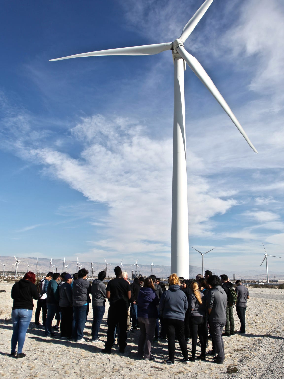 Desert Hot Springs High School students visited Palm Springs Windmill Tours on Thursday, Jan. 14, 2016. They took a tour around a wind farm and learned about renewable energy.