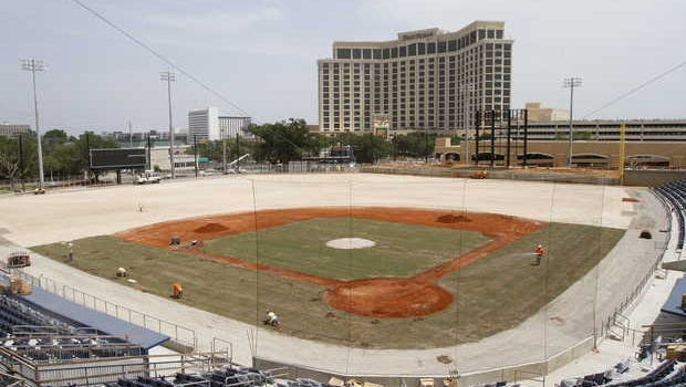 A view from the press box  at MGM Park in Biloxi.