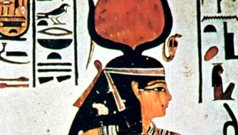 Isis  in an ancient Egyptian wall painting.