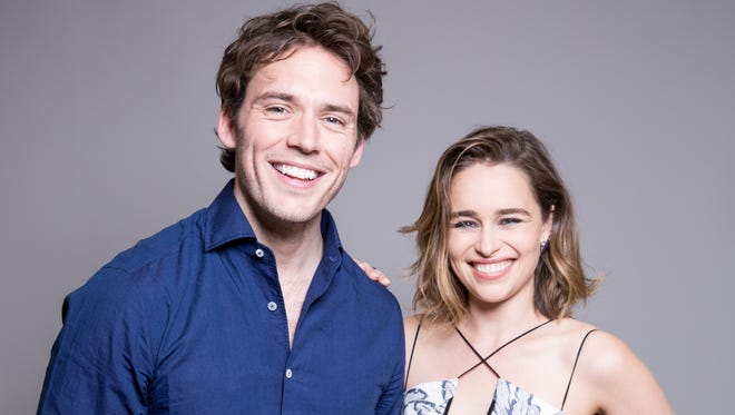 'Me Before You' co-stars Sam Claflin, left, and Emilia Clarke pose in New York on May 21, 2016.