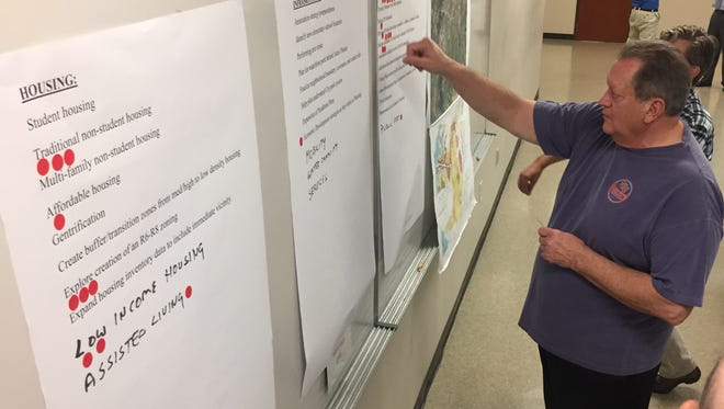 Clemson City Councilman Jerry Chapman marks his planning priorities at an April 18 meeting at City Hall, which was the first of three meetings held to discuss the city's future needs.