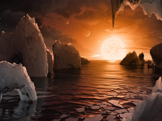 This artist's concept allows us to imagine what it would be like to stand on the surface of the exoplanet TRAPPIST-1f, located in the TRAPPIST-1 system in the constellation Aquarius. One of the unusual features of TRAPPIST-1 planets is how close they are to each other — so close that other planets could be visible in the sky from the surface of each one.