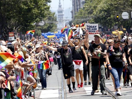 The 43rd annual San Francisco Lesbian, Gay, Bisexual, Transgender Pride Celebration & Parade makes its way down Market Street on June 30, 2013, just days after same-sex marriages were reinstated in California.