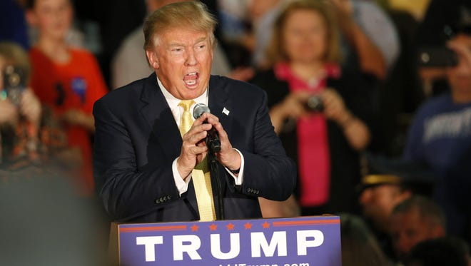 Republican presidential candidate Donald Trump speaks at a town hall event on Thursday, Sept. 17, 2015, in Rochester, N.H.