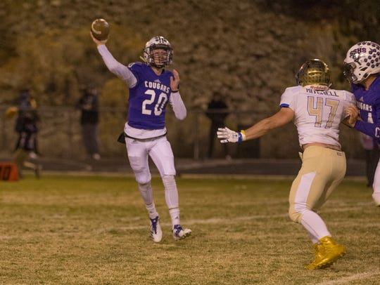 Spanish Springs quarterback Tristan Szabo throws against