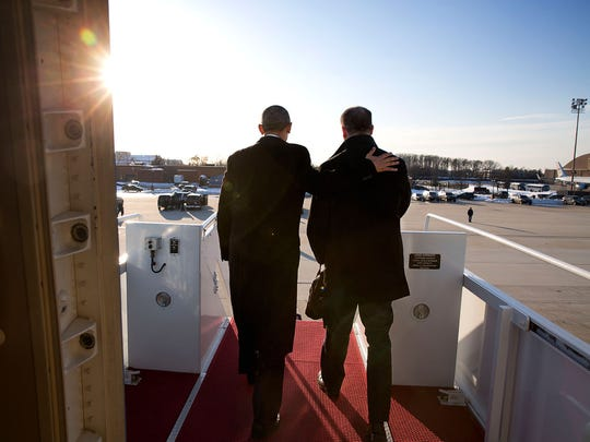 President Barack Obama and Dan Pfeiffer disembark Air Force One  at Joint Base Andrews in Maryland on Pfeiffer's last day as Obama's senior advisor on March 6, 2015.