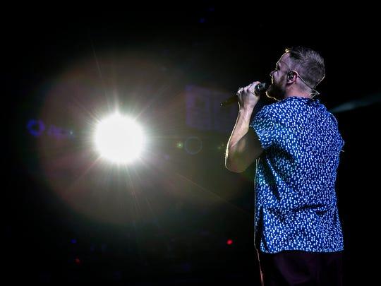 Imagine Dragons singer Dan Reynolds during the Evolve Tour launch, Tuesday, September 26, 2017, at Talking Stick Resort Arena in Phoenix.