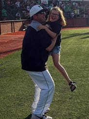 Iowa Park coach Michael Swenson and his daughter Landre