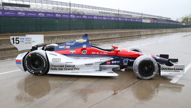 One of two Indy show cars used to promote the Chevrolet Detroit Belle Isle Grand Prix  on Pit Row on May 5.