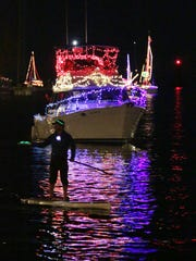 Boats parade in the harbor during the Venetian Night