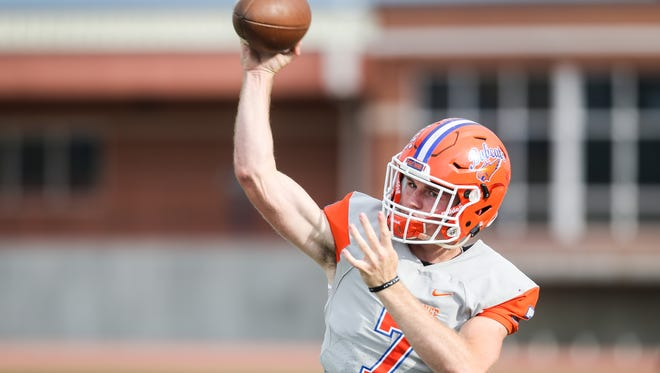 Central's Maverick McIvor practices his throws on the sideline during the spring game Friday, May 18, 2018, at San Angelo Stadium.