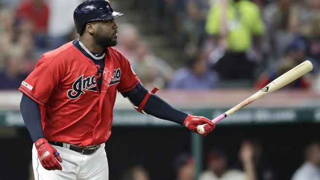 The Indians' Franmil Reyes watches his two-run home run in the fourth inning against the Tigers on  Sept. 19 in Cleveland.