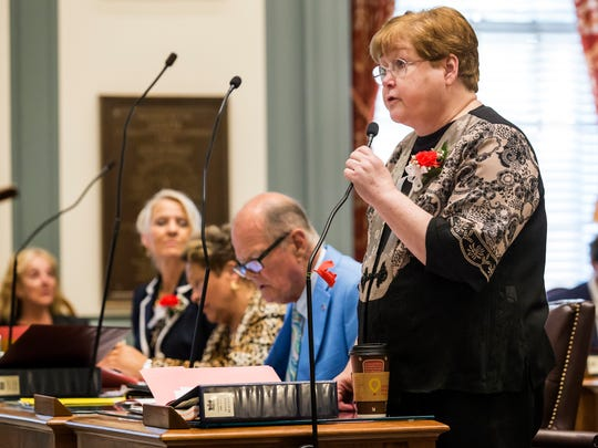 Sen. Patricia Blevins, D-Elsmere, talks about voting for the Wilmington Education Improvement Commission legislation Thursday at the State House in Dover. Lawmakers failed to provide funding or endorse the Wilmington schools redistricting plan.