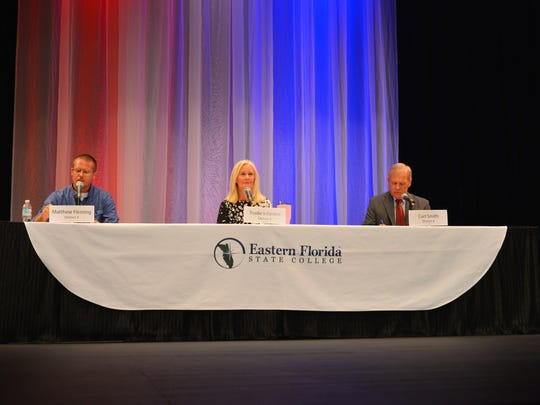 FLORIDA TODAY columnist Isadora Rangel moderating the forum. Florida Today candidate forum for County Commission District 4 at Eastern Florida State College Cocoa Campus Tuesday evening with candidates Matthew Fleming, Trudie Infantini and Curt Smith.
