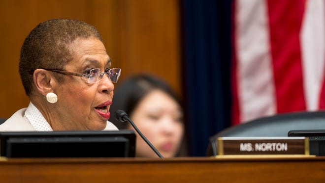 House Oversight and Government Reform Committee member Del. Eleanor Holmes Norton, D-D.C. speaks on Capitol Hill in Washington, Thursday, May 14, 2015, during the committee's hearing on U.S. Secret Service accountability for March 4, 2015 incident. For months new Secret Service Director Joseph Clancy had been warning agents and officers that misconduct and drunken shenanigans would not be tolerated in the once-vaunted law enforcement agency. And yet, according to investigators, two senior Secret Service agents spent five hours at a bar, ran up a significant tab, and then drove back to the White House, where they shoved their car into a construction barrier and drove within inches of a suspicious package earlier this year.   (AP Photo/Brett Carlsen)