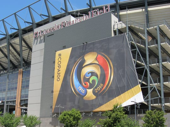 The logo for the Copa America is displayed in Philadelphia
