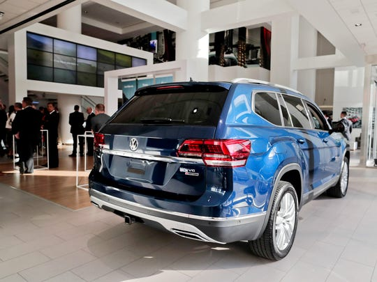 The 2018 Volkswagen Atlas sits on the showroom floor
