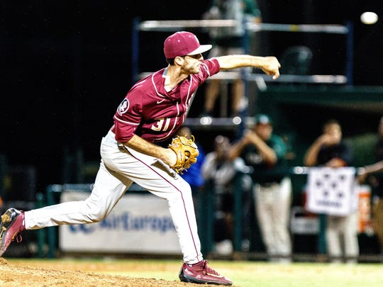 Florida State senior left-handed pitcher Alec Byrd delivers a pitch during the ninth inning of the Seminoles 5-4 loss to Miami in extra innings on Saturday night at Alex Rodriguez Park.