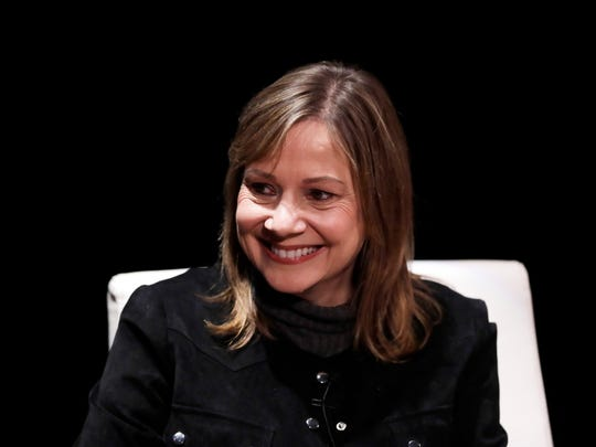 FILE- In this Dec. 11, 2017, file photo, General Motors Chairman and CEO, Mary Barra, is interviewed by Cox Automotive's Michelle Krebs during an Automotive Press Association event in Detroit. At $21.9 million, Barra was third highest-paid female CEO for 2017, as calculated by The Associated Press and Equilar, an executive data firm. (AP Photo/Carlos Osorio, File)