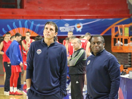 Team USA Basketball under-17 assistant coaches Scott Fitch, left, and Stan Waterman.