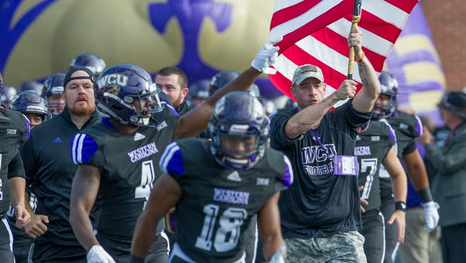 During the 2017 season, U.S. military veterans have given inspirational talks to the WCU football team, then led them onto the field at home games.