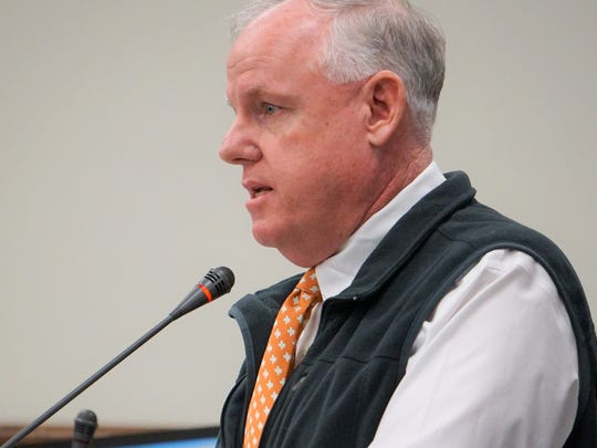 Kevin Hannes, federal coordinating officer for Hurricane Harvey for FEMA in Texas, speaks to Nueces County Commissioners on Wednesday, Jan. 3.