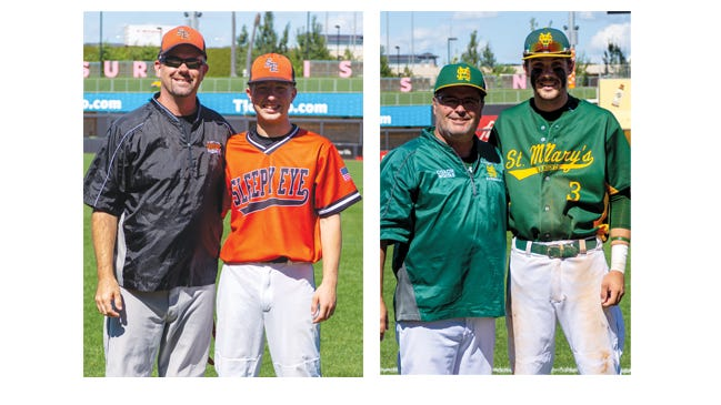 Representing Sleepy Eye on the Tomahawk Conference baseball team in the Senior Salute Tournament are, from left, from Sleepy Eye Public School: Coach Aaron Nesvold and Matt Sellner; from St. Mary's School: Coach Bruce Woitas and Nick Labat.