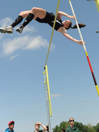 Padua's Kelly Muschiatti competing in the DIAA girls pole vault Saturday at CR.