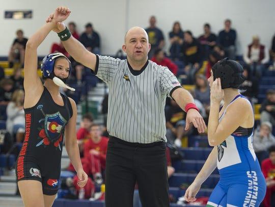 Buena Vista High School wrestler Shyla Diamond wins