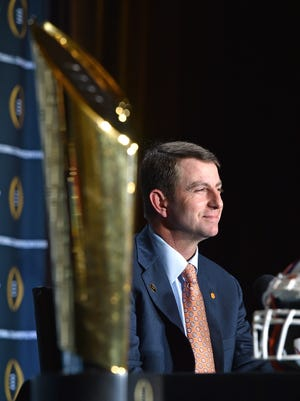 Clemson head coach Dabo Swinney answers questions during the National Championship head coaches press conference Sunday, January 10, 2016 in Scottsdale, AZ.